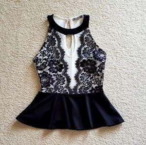 Black Lace White Mesh Peplum Top.